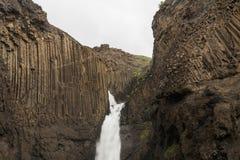 Scenic basalt columns of Litlanesfoss Stock Photography