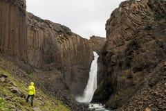 Scenic basalt columns of Litlanesfoss Stock Photo