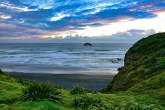 Scenic bay at Muriwai in New Zealand royalty free stock images