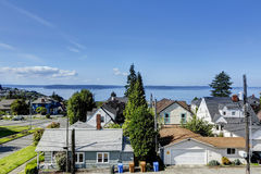 Scenic bay view in Tacoma. Panoramic photo is taken from the dec Stock Image