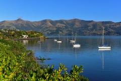 Scenic bays at Akaroa, Banks Peninsula. In New Zealand Stock Photo
