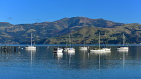 Scenic bays at Akaroa. Banks Peninsula in New Zealand Royalty Free Stock Photos