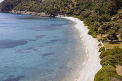 Scenic beach aerial. Aerial view of scenic Mediterranean beach and bay Royalty Free Stock Photography