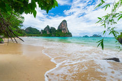 Scenic beach and Andaman sea in Railey Bay, Thailand Royalty Free Stock Photo