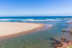 Beach Blue Ocean River Mouth Rocky Scenic Landscape royalty free stock photo