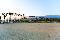 Scenic beach and lighthouse in Santa Barbara Stock Image