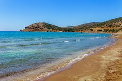 Scenic beach in Prasonisi on Rhodes island, Dodecanese, Greece. Panorama with nice sand beach and clear blue water. Famous tourist. Destination in South Europe stock photos