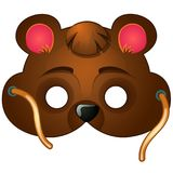 Scenic bear mask. Carnival, masquerade accessories. Scenic bear mask with strings drawn in cartoon style. Carnival and masquerade accessories for children and Royalty Free Stock Photography