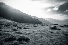 Scenic beautiful countryside mountain hiking landscape in black and white basque country, france Royalty Free Stock Photos