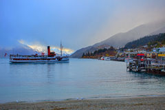Scenic of beautiful landscape wakatipu lake in queen town south Royalty Free Stock Photo