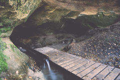 Scenic and beautiful tourism trail in the woods near river Stock Photography