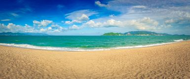 Scenic beautiful view of Nha Trang beach. Panorama royalty free stock photography
