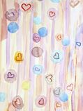Scenic  beautiful watercolor background with hearts and circles, Royalty Free Stock Image