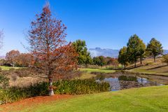 Scenic Beauty Golf Course Mountains Royalty Free Stock Photos
