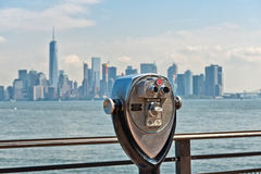 Scenic Binoculars and View of New York City Stock Photography
