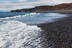 Scenic black beach in Iceland. Stock Photos