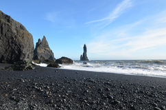 Scenic Black Sand Beach with Sea Stacks  in Vik Iceland Stock Images