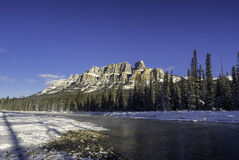 Scenic Bow river and Castle Mountain Stock Photo
