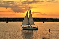 Portifino California ocean side sunset in Redondo Beach, California, United States. Scenic breathtaking sunset view of oceanside at Portifino, Redondo Beach, in royalty free stock image