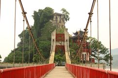 Scenic bridge and China temple Royalty Free Stock Photos