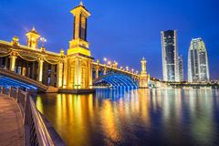 Scenic Bridge at night in Putrajaya, Malaysia Stock Photos