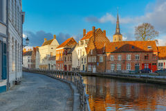 Scenic Bruges canal with beautiful houses and Stock Photography