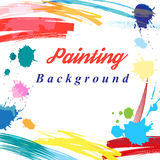 Scenic from brush strokes background Stock Photos