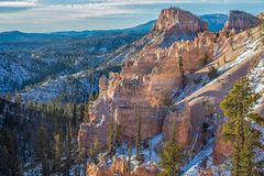 Scenic Bryce Canyon National Park Winter Landscape Stock Photo