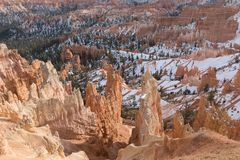 Scenic Bryce Canyon Utah in Winter. The scenic landscape of Bryce canyon National park Utah in winter Royalty Free Stock Photography