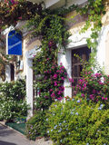 Scenic building front flowers Monterosso Cinque Terre Italy Euro Royalty Free Stock Photography