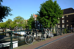 Scenic Bycicle in an Amsterdam Canal Royalty Free Stock Images