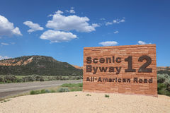 Scenic Byway 12. Sign of Scenic Byway 12 in Red Canyon. Utah. USA Stock Images