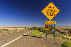 Scenic Byway 12, Utah, USA. Sign - STEEP GRADES - SHARP CURVES - at The Hogback, Utahs Scenic Byway 12, Utah, USA Stock Images