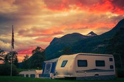 Scenic Camping Sunset. Sunset Sky Over Campground with Travel Trailers. Campsite Caravan Camping stock photos