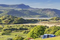 Scenic Campsite in North Wales at Bright Sunny Day royalty free stock photos