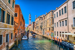 Scenic canal with Carabinieri boats, Venice, Italy Royalty Free Stock Photography
