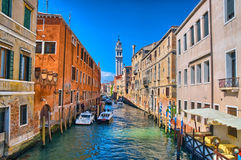 Scenic canal with Carabinieri boats, Venice, Italy Royalty Free Stock Image