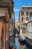 Scenic canal with colorful ancient houses, Venice, Italy Royalty Free Stock Photo