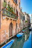Scenic canal with colorful ancient houses, Venice, Italy Royalty Free Stock Photography