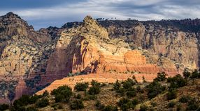 Scenic Cathedral Rock formation at Oak Creek in Sedona Arizona. Red Rock Landscape in Sedona Arizona Landscape Pictures Stock Image