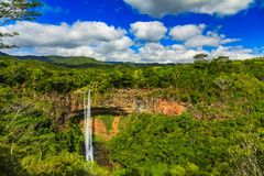Scenic Chamarel Waterfalls in jungle of Mauritius island Stock Photo