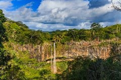 Scenic Chamarel Waterfalls in jungle of Mauritius island Royalty Free Stock Photography