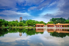Scenic Chinese garden temple Stock Images