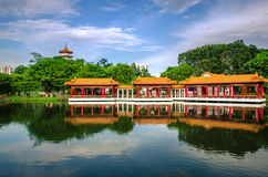 Scenic Chinese garden temple Royalty Free Stock Images