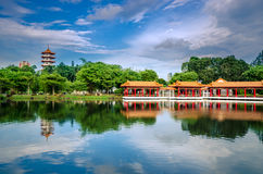 Scenic Chinese garden temple Stock Image