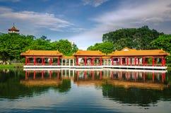 Scenic Chinese garden temple Stock Photos