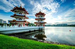 Scenic Chinese garden temple Royalty Free Stock Photo