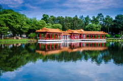 Scenic Chinese garden temple Royalty Free Stock Image