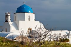 Scenic church at Santorini island, Greece Stock Photos