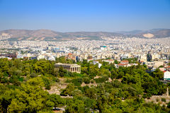 Scenic citiscape of Athens with ancient temple Stock Image